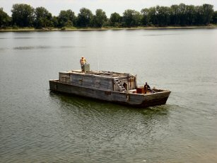 Historical Flatboat in the River